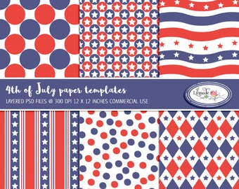 July 4 paper templates to make your own digital papers, PSD template, layered template, overlays, Photoshop templates, P416