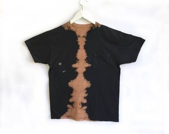 Black and Tan Symmetry Hand Dyed Pocket Tee - One of a Kind Medium