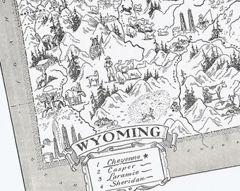 Vintage Wyoming MAP, Charming, Fun, Funky, Adorable, Beautifully Illustrated, Perfect for Framing, Cheyenne