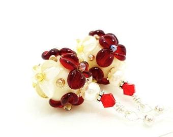 Red Ivory Floral Earrings, Pearl Earrings, Lampwork Earrings, Glass Bead Earrings, Glass Earrings, Dangle Earrings, Beadwork Earring