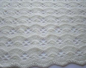 Crochet Blanket Pattern, Large Fan Stitch, Crochet Afghan Pattern, Crochet Christening Blanket Pattern, Instructions to make it ANY size!