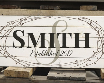 Personalized Family Name Pallet Box Sign Made with Rustic Wood With Floral Wreath Design