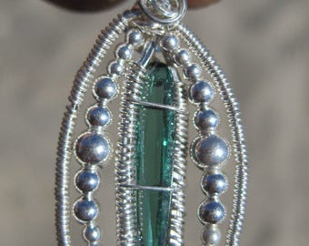 Green Goddess///Faceted Green Tourmaline and Sterling Silver Wire Wrap Pendant, Heady, One of a Kind, Handmade, Art