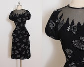 Vintage 40s dress | novelty fan print | vintage 1940s dress | m medium | 5818