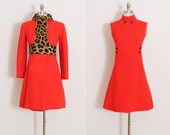 Vintage 60s Dress & Jacket | vintage 1960s set | red leopard print pony hair | xs/s | 5845