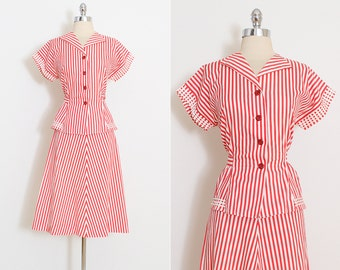 Vintage 40s Dress   vintage 1940s skirt top set   red white striped   l/xl   5885