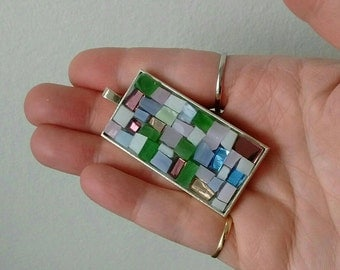 Pendant - necklace - mosaic pendant - mosaic jewelry - romantic jewelry - mosaic art - wearable art - glass art - gift idea- sparkle gift