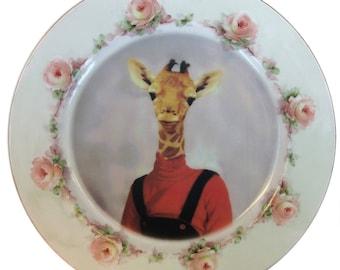 "SALE - Damaged - Andrea Giraffe Portrait Plate 8.75"""