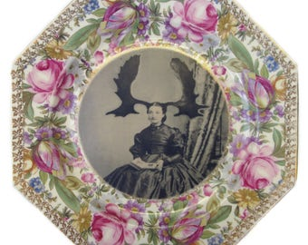 Aunt Wapiti - Altered Vintage Plate 9""