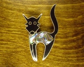 RESERVED For Kat  Vintage 1970's  Sterling Silver/Abalone Kitty Cat Brooch