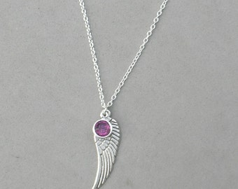 February Birthstone and Angel Wing- Amethyst Swarovski Drop Necklace