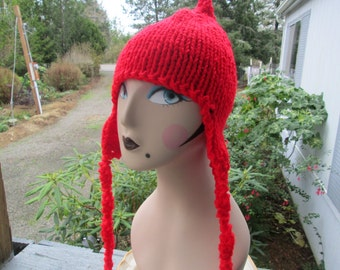 Red Earflap Hat Knitted by SuzannesStitches, Hunters Red Hat, Mens Earflap Hat, Womens Earflap Hat, Trapper Hat, Crocheted Earflap Hat, Hat
