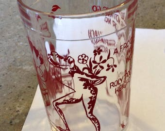 Vintage Child Nursery Rhyme Red Glass Tumbler Rhyme A Frog He Would A Wooling Go