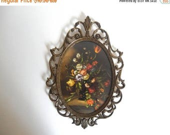 Vintage 1960's Italian Ornate Metal Frame with Floral Print & Curved Glass - Made in Italy