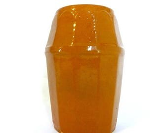 Antique Orange Pumpkin Colored Pottery Stoneware Canning Jar