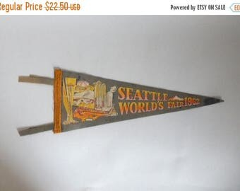 Mid Century c. 1962 Seattle World's Fair Pendant Wall Hanging - Vintage 1960's Space Needle