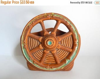 Mid Century Western Ceramic Wagon Wheel Vase / Wall Pocket