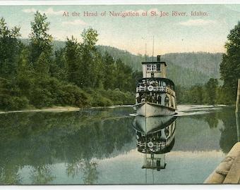 Steamer St Joe River Idaho 1909 postcard