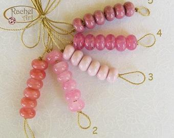 Lampwork Glass Donuts Beads, Pink Glass Spacers Beads - Rachelcartglass