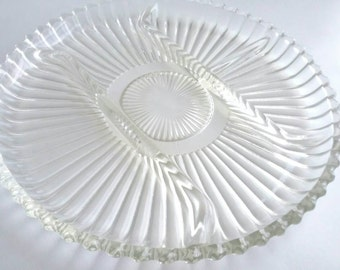"Vintage 1980s Indiana Glass ""Crystal Happenings"" Divided Platter"