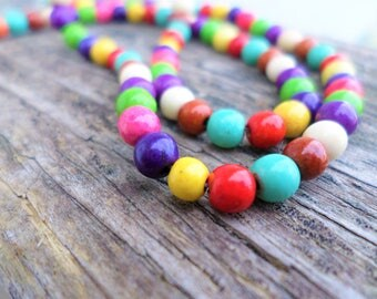 Multi Colored Magnesite (dyed) 4mm Rounds Full Strand