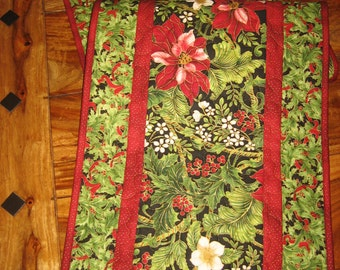 """Christmas Table Runner, Red Poinsettias, Flowers and Holly, 14.5 x 47"""", Quilted Reversible 100% cotton fabrics"""