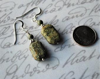 Green Jasper with Sterling Silver Earrings