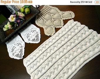 3 Assorted Vintage Crochet Armchair Doilies 9615