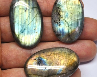 Multicolor Labradorite Oval Cabochons, Natural Gemstones, Flat Back, Jewelry Supply - 3 pcs Parcel - 33.2-37.3 mm - 129.8 ct - 161124-21
