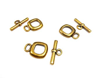 Bronze Square Toggle Clasps Findings, Toggle Closure, 16mm- Pk 1 set