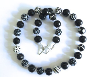 Black and White Kazuri Bead Necklace, Ceramic Necklace