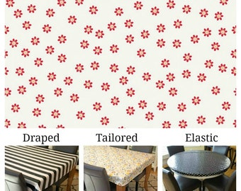 Laminated cotton aka oilcloth tablecloth custom size and fit choose elastic, tailored, or draped, tiny red daisies on white