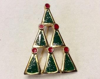 Designer signed Ali Christmas tree brooch pin. Free ship to US.