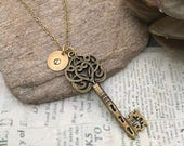Ornate Style Victorian Key Necklace with Initial Charm, Initial Necklace, Key Necklace, Best Friend Gift, Hand Stamped, Bridesmaid Gift