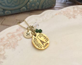 Paris Necklace, Initial Necklace, Gift Ideas,  Hand Stamped Necklace, Friendship Necklace, Gift For Her, Handmade Necklace, Eiffel Necklace