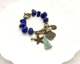 Dreaming of the Sea Bracelet,  Lapis Lazuli Bracelet, Tassel Bracelet, Sea Charms, Starfish Bracelet, Shell Bracelet, Handmade Braclelet