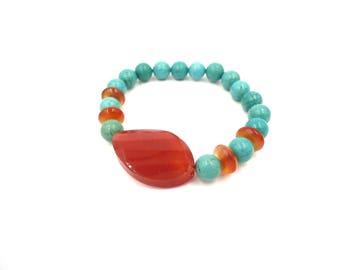 Healing Bracelet - Carnelian Jewelry - Blue Orange Jewelry - Carnelian Chakra - Adjustable Bracelet - Women Orange Bracelet - Carnelian Brac