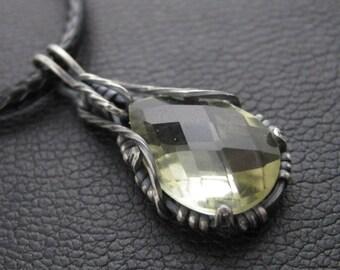 Lemon Quartz Checker Cut Pear in Sterling  -  Oxidized Stone Pendant Charm - Unisex Mens Womens