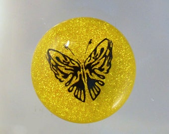Fused Dichroic Glass Cabochon..YELLOW BUTTERFLY...Dichroic Cab for Jewelry Designers