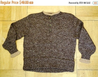 20% OFF 40s CHILDRENS boys brown hand knit sweater top 1940s vintage 1950s cute
