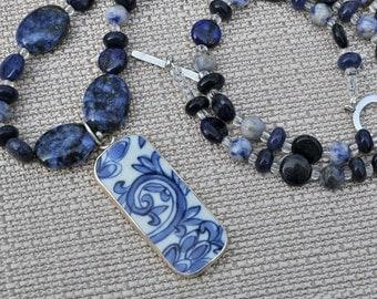 Lapis Blue and White Porcelain Pendant Long Necklace