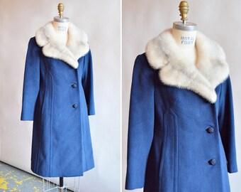 Vintage 1960s ROYAL blue coat with MINK fur collar