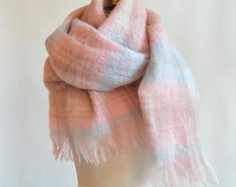 30% OFF storewide // Vintage 1960s huge MOHAIR wool scarf