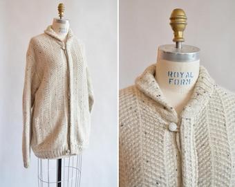 Vintage 1970s OATMEAL wool cardigan