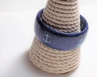 Anchor Bracelet - Nautical Jewelry - Anchor Bangle - Navy Wife Jewelry - Navy Blue Bracelet - Navy Mom Bracelet - Nautical Bracelet