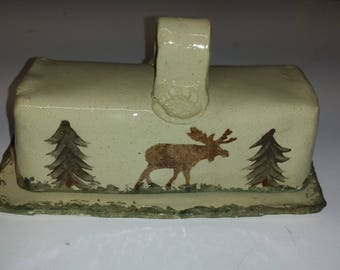 Covered Butter Dish, Moose and Pine trees