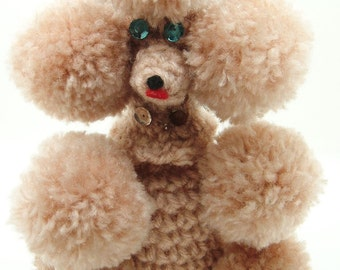 Vintage Pom Pom Poodle handmade crochet kitsch old brown dog puffy puppy fuzzy balls one of a kind gift