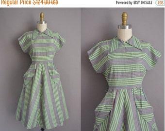 25% off SHOP SALE... 50s green cotton stripe print vintage dress / vintage 1950s dress