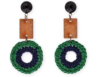 Clip on Large fiber earrings, long Statement hoop earrings, green and wood Bold geometric Trendy fashion jewelry