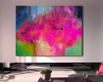 Abstract Painting, Pink Blue Painting, Large Abstract Painting, Pink Blue Print, Fine Art Print, Pink Abstract, large print
